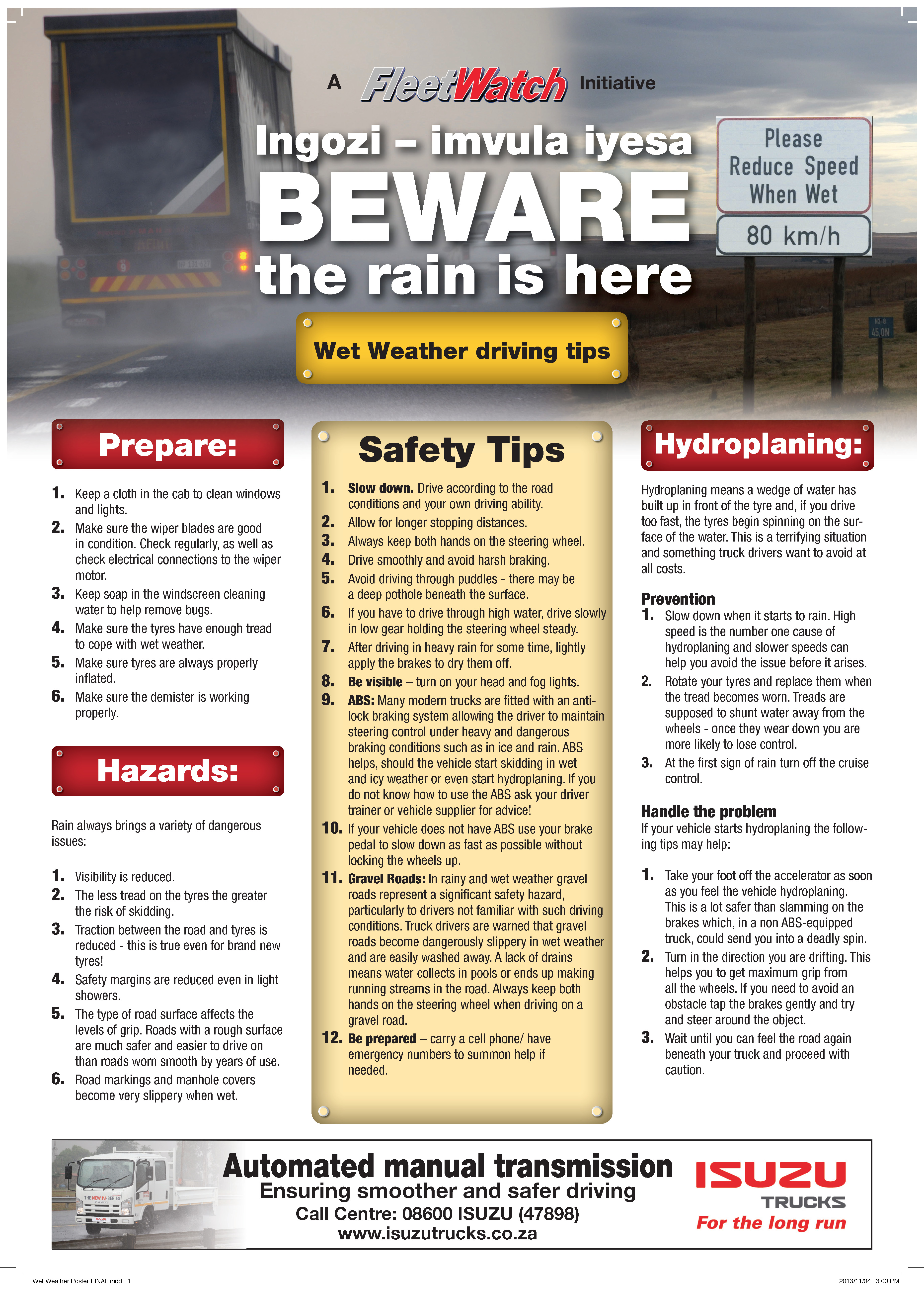 Wet Weather Driving Poster