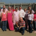 Taking centre spot among Jost SA staff is Manie Roux with his pink 'jarmies'.