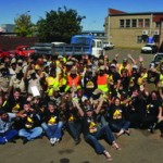 The enthusiasm of the Bloemfontein traffic officials was stunning. Here they cheer the success of the training programme with the FleetWatch Brake & Tyre Watch team. It truly is a team effort.