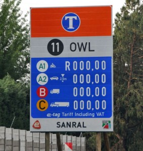 This sign, erected prior to the implementation of Gauteng's e-toll fees, remains relevant for SkyNet Worldwide Express customers following the company's decision to off-set the impact of e-Tolls on its customers by absorbing the increased costs. Zero cost!