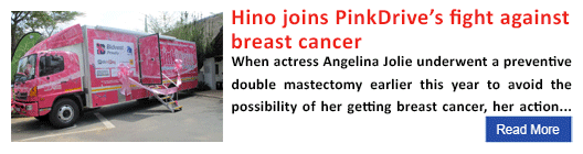Hino joins PinkDrive's fight against breast cancer