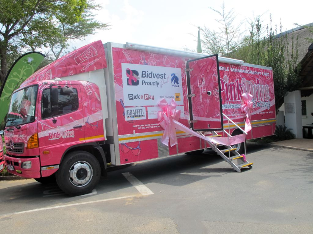 Looking resplendent in its PinkDrive colours is this Hino-based mobile mammography unit which will be used in the fight against breast cancer.