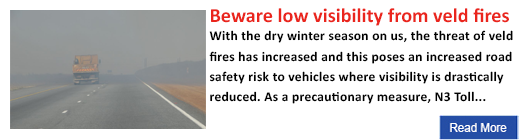 Beware low visibility from veld fires