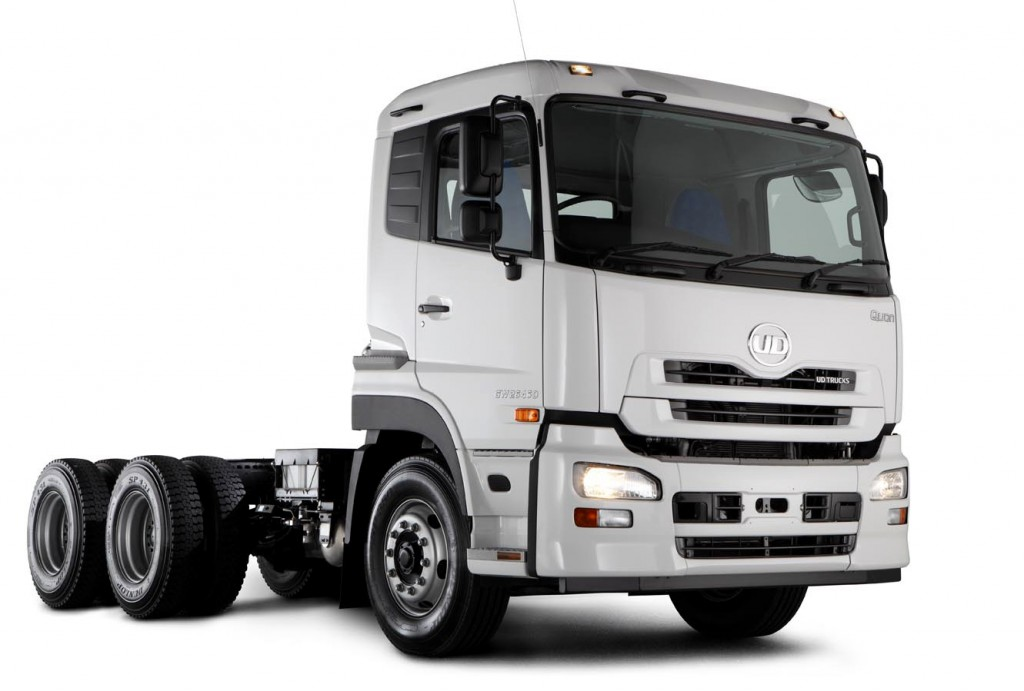 The new Quon GW26 450 6x4 truck-tractor from UD Trucks which features ...