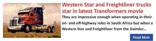 Western Star and Freightliner trucks star in latest Transformers movie