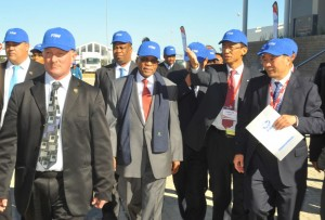 President Jacob Zuma (centre) being shown around the new FAW manufacturing facility at Coega by FAW management.