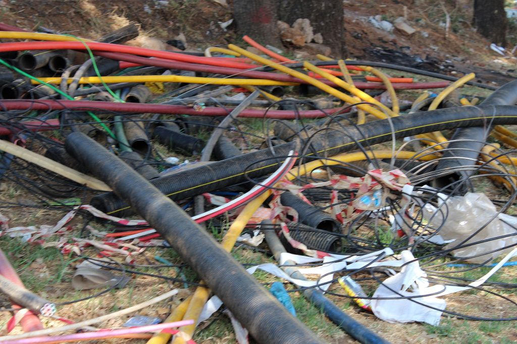 Cable theft is rampant as evidenced by this pile of discarded cable which has been stripped of the copper inside. A reduction in the attractiveness of copper cables to vandals, either by using fewer cores or using an alternative material to copper as well as strengthening unit access and security is being piloted by the JRA.