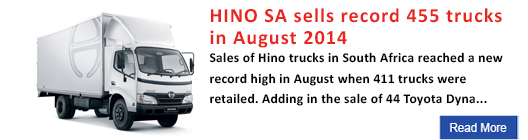 Hino SA sells record 455 trucks in August 2014