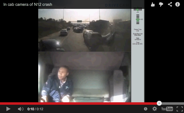 This video – released to FleetWatch by Imperial Logistics – was taken by the in-cab camera fitted to the Tanker Services rig which shows the truck from Benuci Cargo Carriers ploughing into cars on the N12 on Tuesday - https://www.youtube.com/watch?v=EiT-4DtSKtc&feature=youtu.be