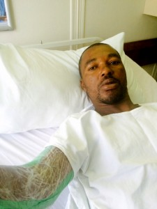 Thomas Kamti, driver of the Francor Transport Services truck, was hospitalised with a broken arm - which had to be operated on the next day. He also had numerous cuts and bruises and was badly traumatised by the incident.