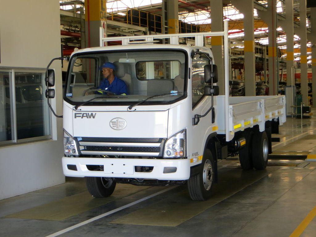 The FAW Tiger 8.140 coming off the company's production line in Coega. The official launch of the truck takes place in May this year.