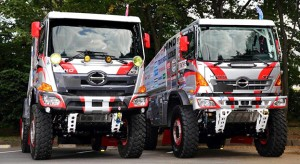The two racing four-wheel drive Hino 500-Series trucks ready for the 2016 Dakar Rally. On the left is the No 1 truck to be driven by Sugawara team principal, Yoshimasa Sugawara. The other truck will be driven by his son, Teruhito. The truck on the left has the face-lifted cab introduced in Thailand and Indonesia earlier this year.