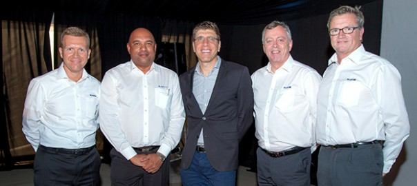 Senior management from ExxonMobil and Centlube at The Mobil Lubricant Experience, from left: Gerald De Causemaeker from ExxonMobil; Clint Nickall of Centlube; Paul Mansour from enX Group; Lawrence Kearns and Vincent Cartier from ExxonMobil.