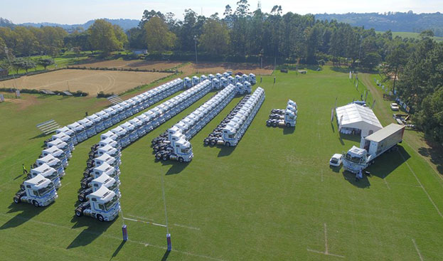 This impressive aerial view shows what 101 Actros trucks look like when grouped together. It was this fleet that was handed over to Bakers SA Limited by Mercedes-Benz Trucks at the Shongweni Equestrian Club last week. That's one 'moebi' order.