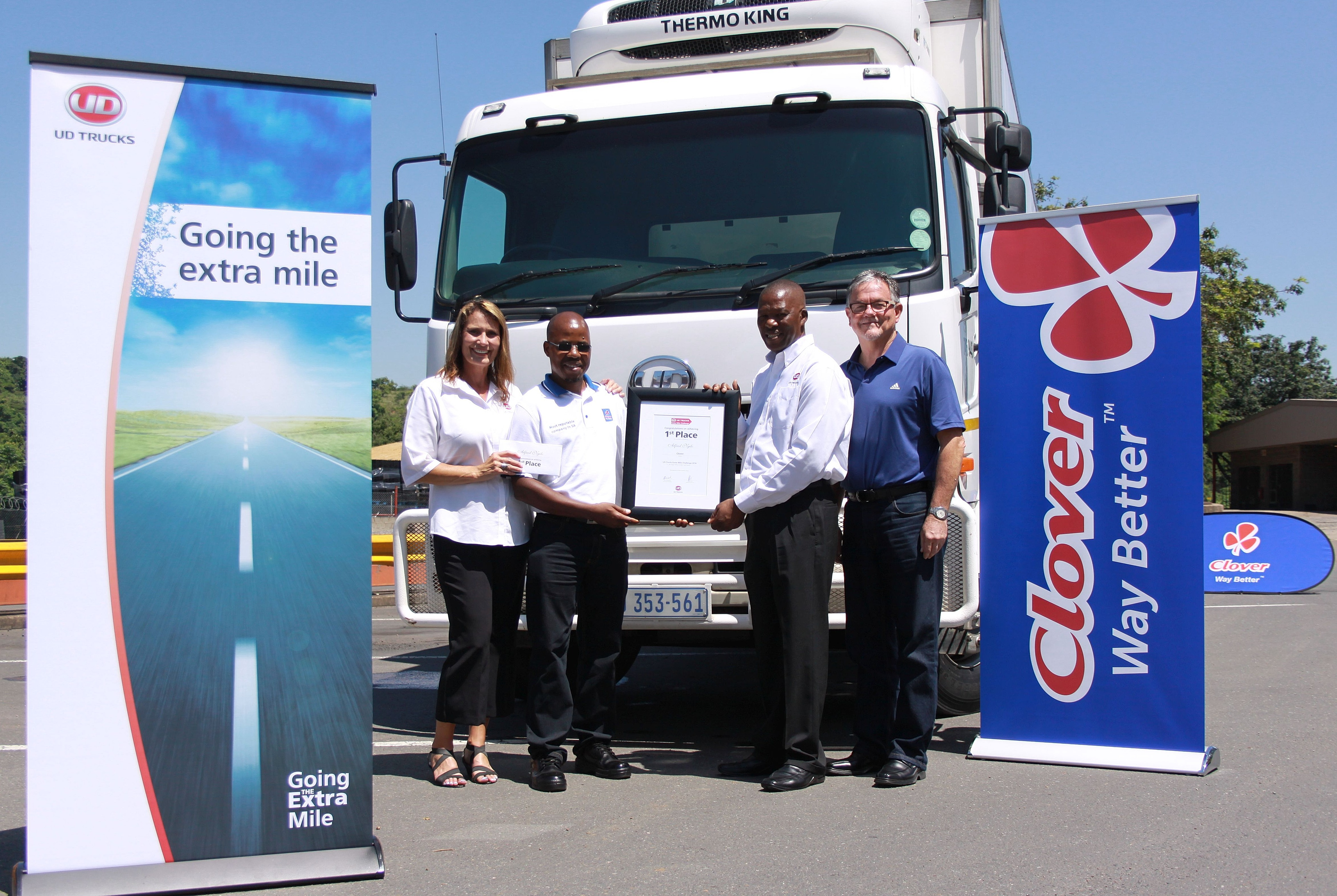 Alfred Ngilo, from Clover in KZN (centre left), is the man representing South Africa in the global UD Extra Mile Challenge driver competition being held in Japan. Accompanying him on the trip are Ann Pienaar, UD Trucks' Fleet Sales Manager (far left) and Derick Moima (second from right), UD's Demonstration Driver. A proud Peet Pretorius (right), HR Manager for Clover in KZN, is fully behind his star driver in every way. Congratulations Alfred. Everyone at FleetWatch is cheering for you.