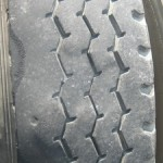This shows the start of diagonal wear which could be caused by advanced wear conditions or brake skid, spot wear or shoulder wear. This can also be caused by misalignment, mismatched dual sizes, loose wheel bearings or incorrect inflation pressures.