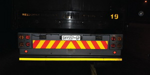 Some of the reflective tape on trucks is in dire need of replacing while on others, it is perfect.