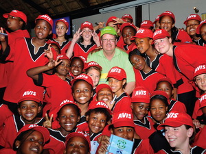 Committing the actions of today to the future of tomorrow was Gideon de Swardt of Scania southern Africa seen here surrounded by trusting and grateful kids. As you can gauge from the caps, Avis was also a big supporter of the event.