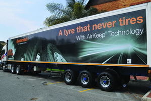 The impressive demo tri-axle trailer id fitted with HTR 2 (Heavy Truck Trailer- Regional Traffic) tyres. Note the extra wide shoulder ribs in the close up of the tyres. Also, the narrow grooved rib design (1.5mm more tread depth) prevents sone trapping and presents a quieter ride.