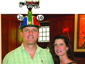 February 2010 Winner: Cargo Carriers. A happy André Jansen van Vuuren, director, marketing at Cargo Carriers had his hat fitted by FleetWatch's Lorinda Stoltz.