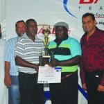 Winner - Pantech Heavy TOP: Abdool Kader Tayob (CEO), Aman Kader (National Workshop Manager), Ismail Khan (Head of Department: Driver Trainer), Moonsamy Pather (Winner), Shabir Ahmed Tayob (National Marketing & Logistics Director)