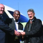 Editor of FleetWatch, Patrick O'Leary (right) hands over a cheque for R10 000 on behalf of FleetWatch and all the participating companies (see above) to Themba Mthombeni, operations director of Trucking Wellness and Louis Hollander, HR director of Imperial Logistics and committee member of Trucking Wellness.