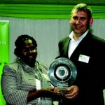 Abrie de Swardt receives his award from Mapule Ncanywa, acting CEO services, at the Consumer Goods Council of South Africa.