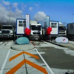 The first four trucks to use the new truck entrance at the Cape Town Terminal. The trucks are now serviced from kiosks which will result in a quicker and safer service as truck drivers no longer need to get out of their cabs.