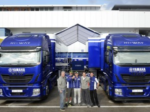 Far more impressive than the bikes are the Iveco Stralis Hi-Way trucks supporting the racing teams. At the handover ceremony were, from left: Carmelo Impelluso, general manager, Iveco Spagna; Valentino Rossi and Jorge Lorenzo, Yamaha team factory racing riders; Alberto Cavaggioni, Iveco marketing director and Lin Jarvis, MD, Yamaha Racing Team.