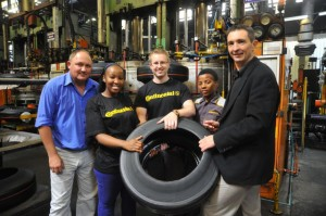Learning all about tyres…from left are: Llewellyn Wilmot, shift manager; Anelisa Matshoba,  In-service trainee, Polymer Technology; Gerhardus van Rhyn, In-service trainee, Mechanical Engineering; Wandile Nyakama, in-service trainee, Information Technology; and Wayne Brown, general manager manufacturing.