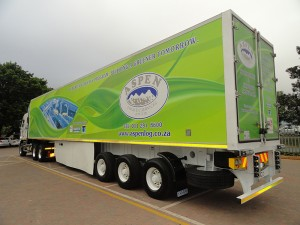 One of the trailers fitted with an Aeroflex skirt. Serco is now refining the fitment techniques to achieve a target of 5% fuel savings.