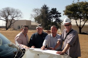 Pictured on the construction site for the new Serco Gauteng premises are, from left:  Johan Oberholzer, Trevor Holcroft and Donavan Brent of Serco with Stuart Johnston of Formwork Construction.