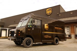 One of the cornerstones of UPS's environmental strategy is to support the development and use of lower-emission alternative fuels. This is a propane powered vehicle.