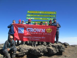 The proud team at the summit of Mount Kilimanjaro – supporting South Africa's CHOC Childhood Cancer Foundation South Africa.