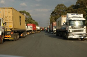 Queues of trucks wait outside the City Deep inland port in Johannesburg. Penny Henley, logistics manager at Blue Strata, says closure of the City Deep inland port would result in severe disruption and further escalate the cost of doing business in the country