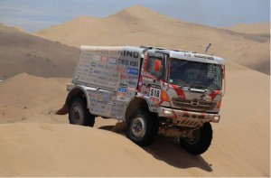 The Hino 500-Series of Teruhito Sugawara and his co-driver, Hiroyuki Sugiura, had to traverse many daunting sand dunes in South America on their way to an excellent 12th overall finish in the 2014 Dakar Rally.