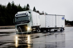 Testing the Stretch Brake system at Volvo's test track in Sweden. Jack-knifing occurs when the trailer slides forward and swings out, facing a different direction than the truck. It includes several risks for oncoming traffic, the driver and the goods. It is, in fact, a driver's nightmare.
