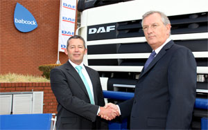 Babcock CEO, Roger O'Callaghan (left) and Ron Bonsen, DAF Trucks NV director, marketing and sales, at the official announcement that DAF trucks will once again be a feature on the South African trucking landscape.