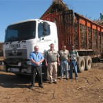 One of Ithuba Agriculture's new Hino 700-Series 57-450 truck-tractors being loaded with sugar cane near Kranskop, KwaZulu-Natal. In the picture, from left, are: Billy Binns, commercial vehicle sales consultant at Hino Pietermaritzburg; Rob West, GM of Ithuba Agriculture and his colleagues, workshop manager Neville Reddy and cane manager, Zakhele Nxasane.