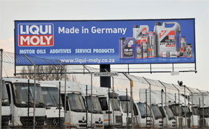 Liqui Moly products are sold in Gemany and 90 other countries, including South Africa. This is the company's impresive bill-board alongside the N1 in Johannesburg.