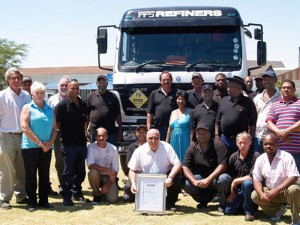 Staff at the Cape Town branch of FFS Refiners with their RTMS certificate.