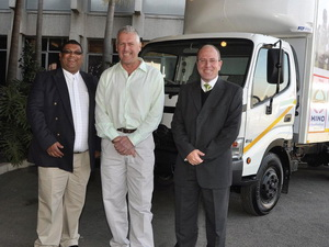 All smiles at the handover of a Hino 300 Series 8-14 truck to the Touch Africa charitable initiative. From left: Ignatius Muthien, senior manager, marketing of Hino SA; Mike Glover, CEO of Touch Africa; and Dr. Casper Kruger, vice president of Hino SA.