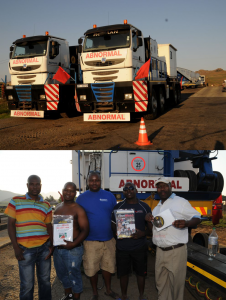 Abnormal load rigs are not allowed to travel on weekends and have to park off. FleetWatch editor Patrick O'Leary came across these magnificent Rotran Tractomas trucks - whose trailers stretched for 'miles' - parked off at the top of Van Reenen's Pass. He stopped to have a close look and got to chat with the drivers who were chilling out. He left them with the FleetWatch Driver packs to enjoy and learn while passing the time.