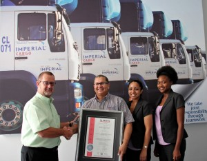 Proud on receiving the ISO 14001 accreditation are, from left: Christo Theron, managing director of Imperial Cargo; Paul Fredericks, SHEQ manager; Angelique Rodriques, training and development manager; and Sibulelo Mda, SHEQ assistant from Imperial Cargo.