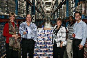 Toasting the renewal of the Red Bull/Imperial Retail Logistics strategic partnership with – Red Bull of course - are from left: Charmaine Smith, general manager customer services; Friedel Spies, operations director; Hester Fourie, customer services executive; Molebatsi Mtakane, key account manager and David Oates, commercial manager at Imperial Retail Logistics.