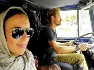 On the road again with Peter Glas behind the wheel of his trusty Unimog while his wife Jennifer takes in the surrounding sights and sounds.