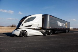 The new sleek-looking WAVE concept truck from Walmart. The cab is highly aerodynamic while the trailer is made almost entirely of carbon fiber.