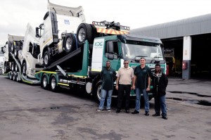 Happy after their first local successful test loading exercise are, from left: Sandile Dlamini, dedicated driver of the Truck on Truck rig; Shabir Mansoor, managing director of KDG Logistics; Juan Lange, Operations Manager for the Truck on Truck project and KDG's fleet manager Patrick Dlamini. Sandile is actually the son of Patrick. Great to see it all staying in the family.