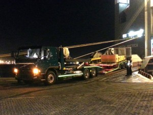The new Truck on Truck carrier is off loaded from the ship at Durban dock. Operations manager Juan Lange was there to record this historical event.