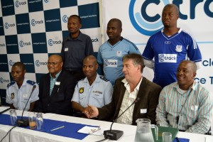 From left to right:   Major Capt  P J Kokonyane, Charley Pietersen (MD of Ctrack Mzansi), Brigadier Makubo Moses (SAPS), Nick Vlok (CEO of DigiCore), Captain Masela with SAPSHOFA representatives (top row)